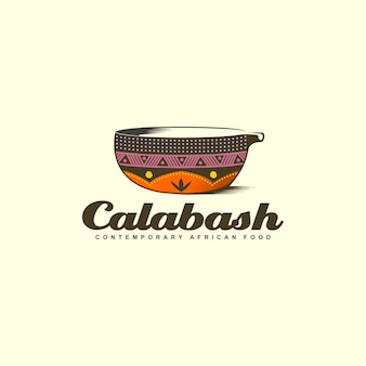Création de logo coloré de bol de calebasse