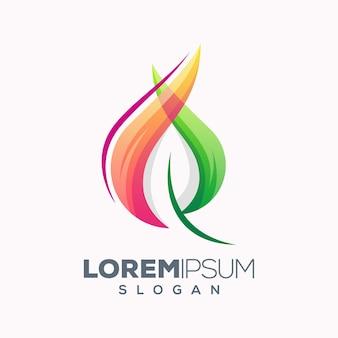 Création de logo coloré feuille