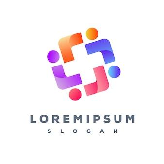 Création de logo coloré de travail d'équipe prêt à l'emploi