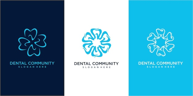 Création de logo de communauté dentaire. ensemble d'inspiration de conception de logo dentaire