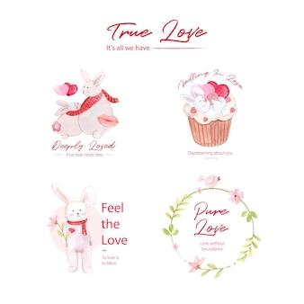 Création de logo avec concept d'amour pour la marque et l'illustration aquarelle d'entreprise