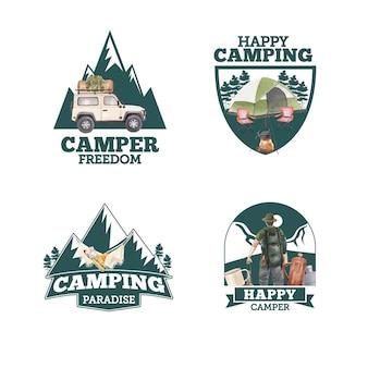 Création de logo avec concept de campeur heureux