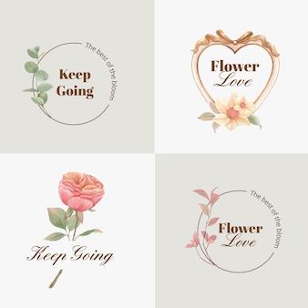Création de logo avec concept de fleurs cottagecore, style aquarelle