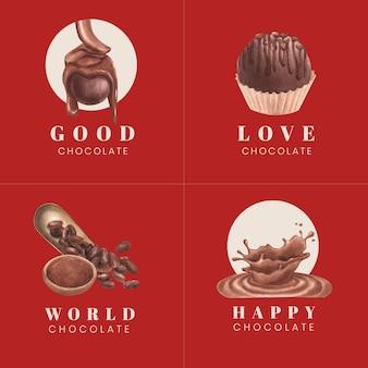 Création de logo avec le concept de la journée mondiale du chocolat