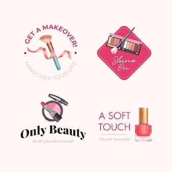 Création de logo avec concept de maquillage pour l'aquarelle de marque et marketing.