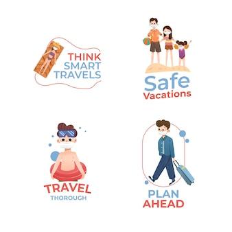 Création de logo avec concept de prévention covid-19 pour l'image de marque et le marketing.