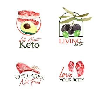 Création de logo avec concept de régime cétogène pour la marque et le marketing illustration aquarelle.