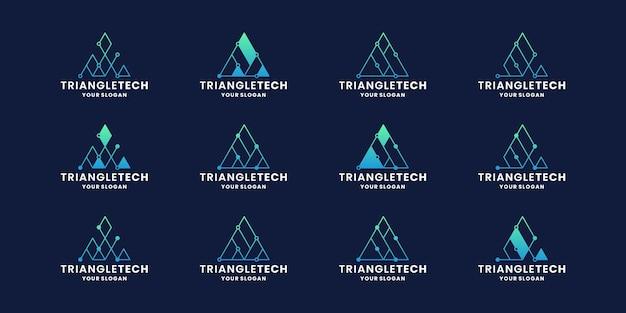 Création de logo de concept de technologie triangle créatif avec dégradé de couleur