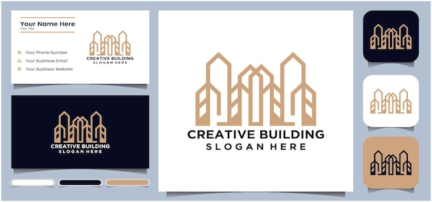 Création de logo de conception de bâtiment structure de bâtiment abstraite construction d'architecture de maison