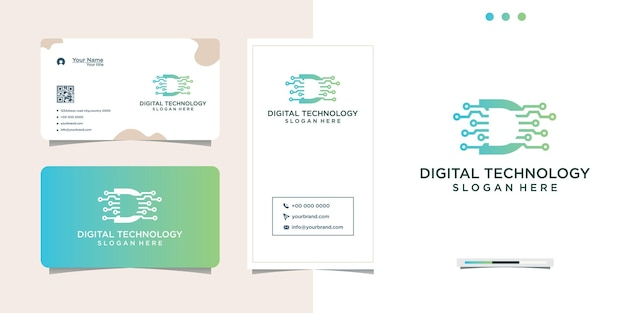 Création de logo de connexion internet numérique et carte de visite