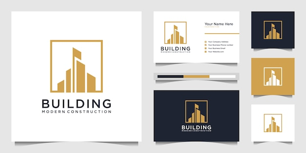 Création de logo de construction avec un concept moderne. résumé de la construction de la ville pour l'inspiration de conception de logo. création de logo et carte de visite