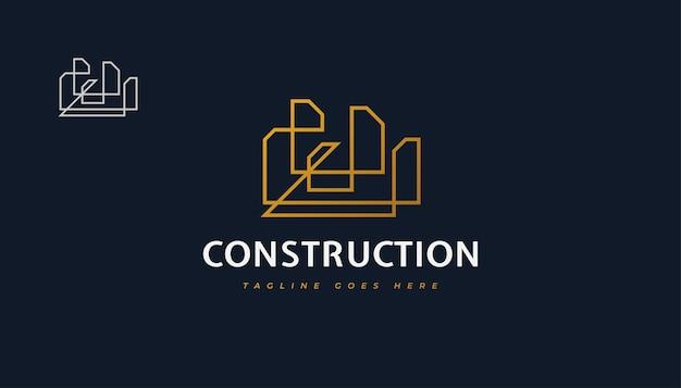 Création de logo de construction d'or abstrait avec style de ligne. création de logo de construction, d'architecture ou de bâtiment