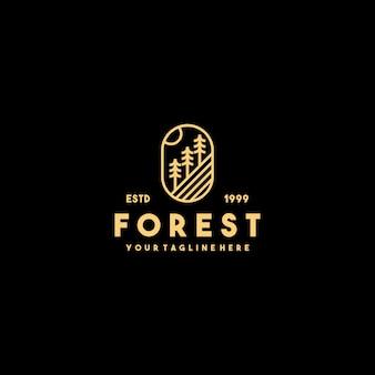 Création de logo de contour de forêt créative