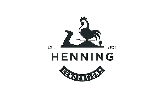 Création de logo de coq de style classique vintage