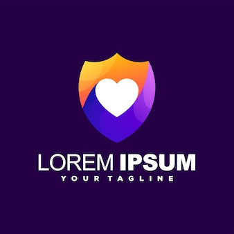 Création de logo couleur coeur bouclier
