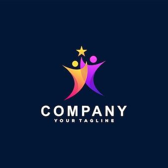 Création de logo de couleur dégradé de personnes