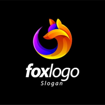 Création de logo de couleur dégradé renard