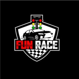 Création de logo de course automobile fun vintage moderne