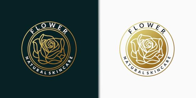 Création de logo créatif élégant feuille et fleur rose pour la beauté