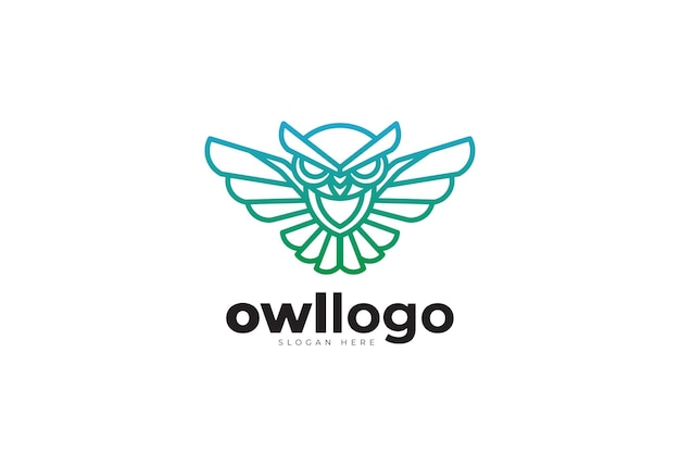 Création de logo créatif monoline géométrique hibou