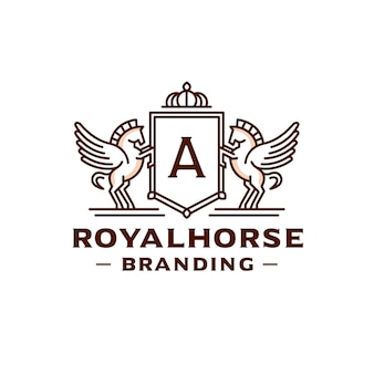 Création de logo de crête de lettre modifiable de chevaux ailés