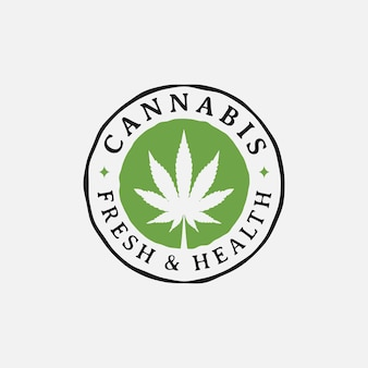 Création de logo de culture de feuille de chanvre cannabis marijuana rétro vintage