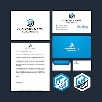 Création de logo dans le vecteur premium de carte de visite