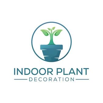 Création de logo de décoration de plante d'intérieur, modèle de conception de logo d'arbre de croissance