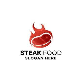 Création de logo de dégradé alimentaire steak