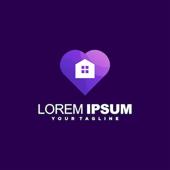 Création de logo dégradé amour maison