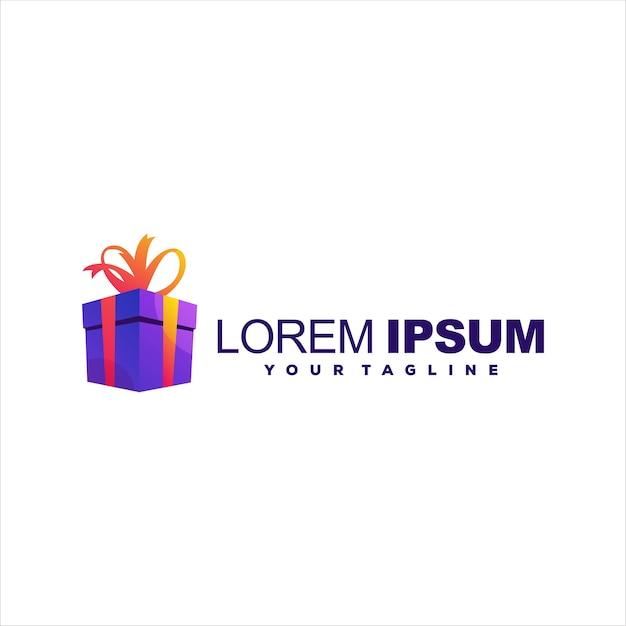 Création de logo dégradé de boîte cadeau