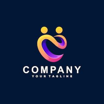 Création de logo en dégradé de couleur d'amour