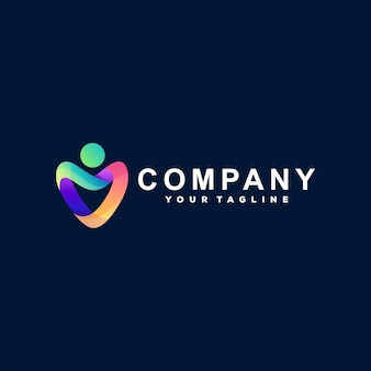 Création de logo dégradé de couleur coeur
