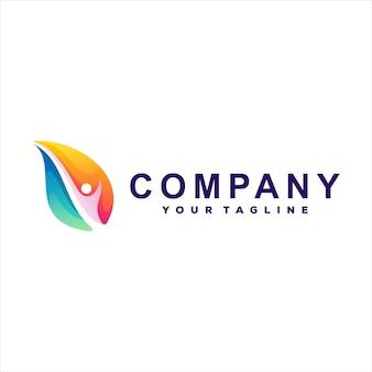 Création De Logo Dégradé De Couleur Feuille Vecteur Premium