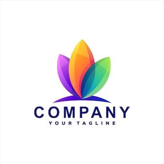 Création De Logo Dégradé De Couleur Fleur Vecteur Premium