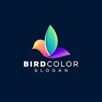 Création de logo dégradé de couleur oiseau