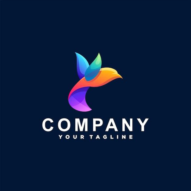 Création De Logo Dégradé De Couleur Oiseau Vecteur Premium