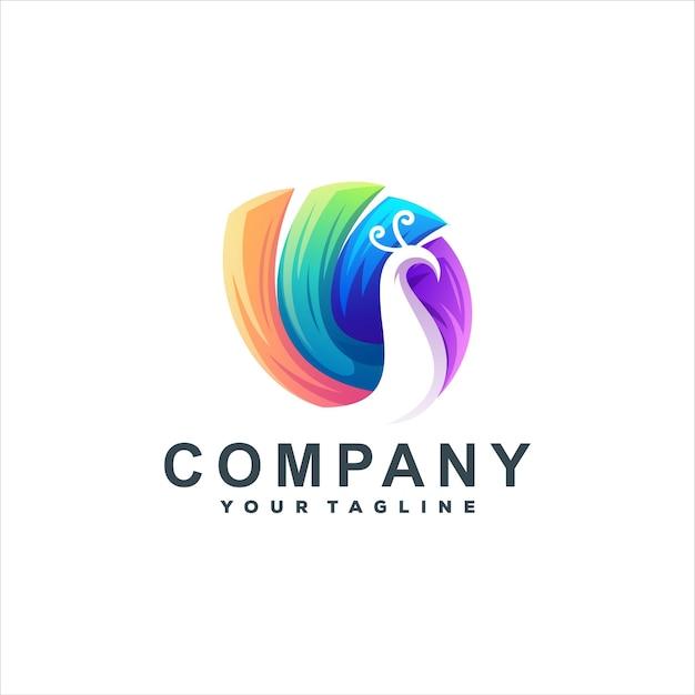 Création de logo dégradé de couleur paon