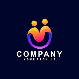 Création de logo dégradé de couleur de personnes
