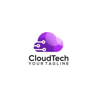 Création de logo de dégradé de couleur de technologie cloud