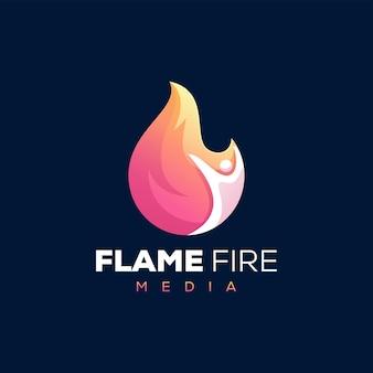 Création de logo dégradé de feu de flamme