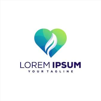 Création de logo dégradé feuille amour