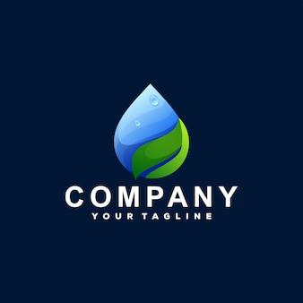 Création de logo dégradé feuille de goutte
