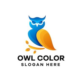 Création de logo de dégradé de hibou