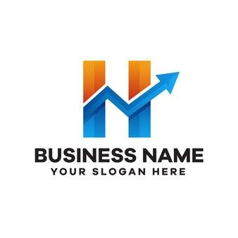 Création de logo de dégradé d'investissement lettre h abstraite