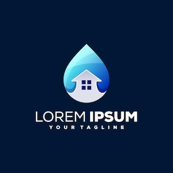 Création de logo dégradé de maison d'eau