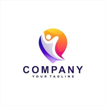 Création De Logo Dégradé De Personnes Abstraites Vecteur Premium