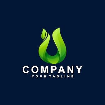 Création de logo dégradé de plantes vertes