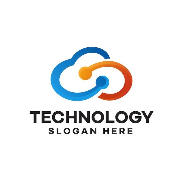 Création de logo de dégradé de technologie cloud