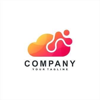 Création de logo dégradé de technologie cloud